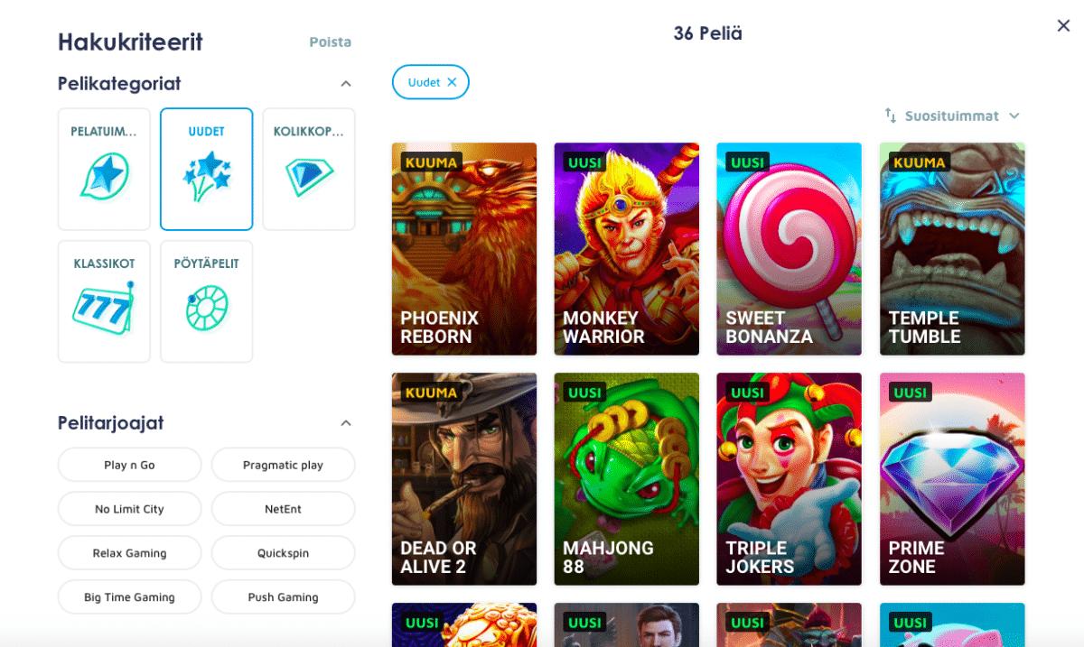 Uudet pelikategoriat ja filtterit