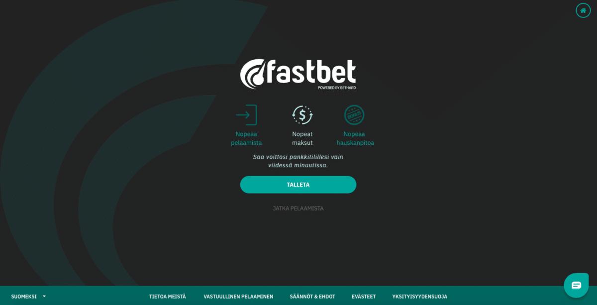 Fastbet - Vedonlyönti ja casino ilman rekisteröintiä